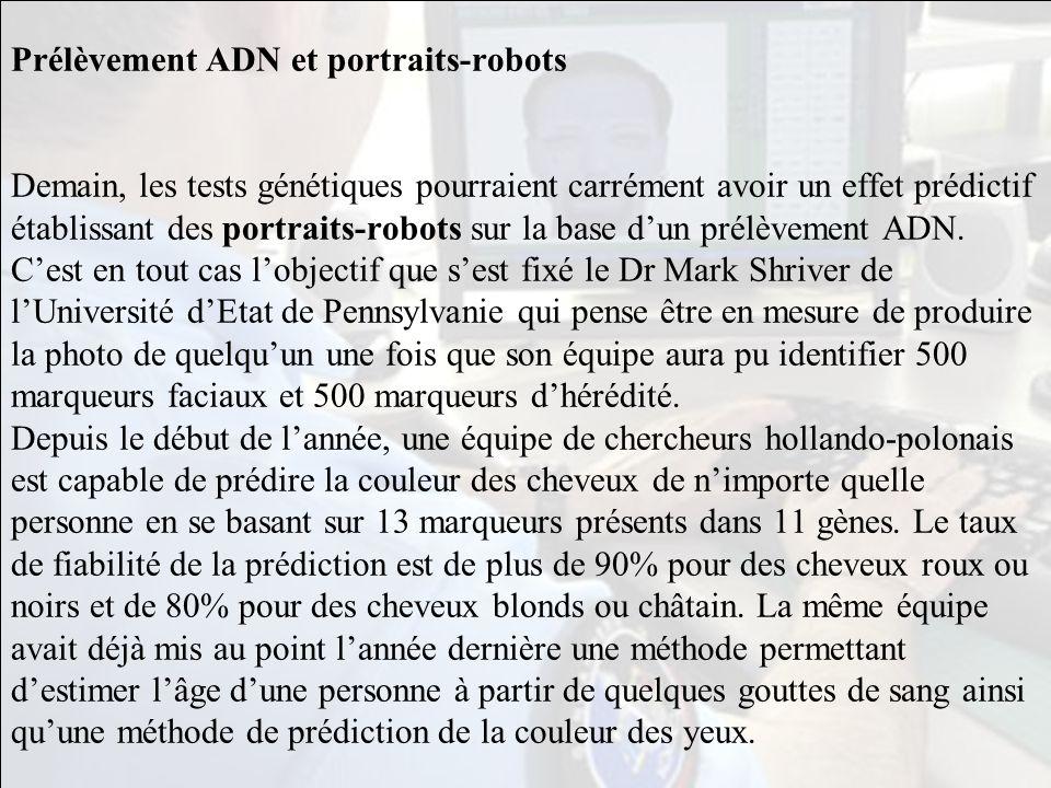 Prélèvement ADN et portraits-robots Demain, les tests génétiques pourraient carrément avoir un effet prédictif établissant des portraits-robots sur la base d'un prélèvement ADN.