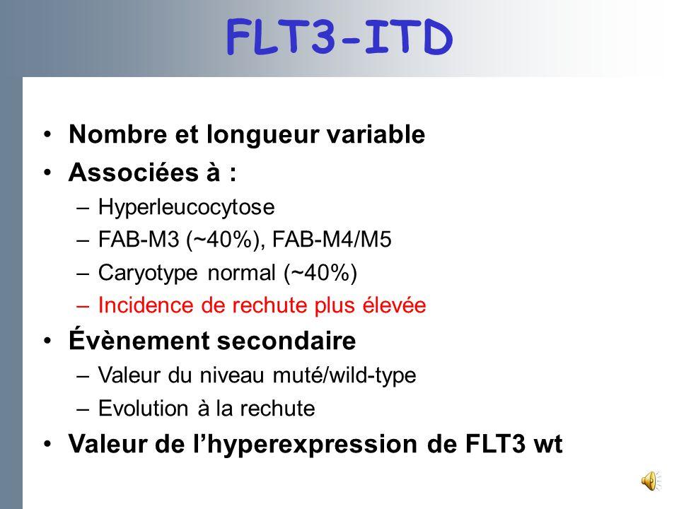 FLT3-ITD Nombre et longueur variable Associées à :