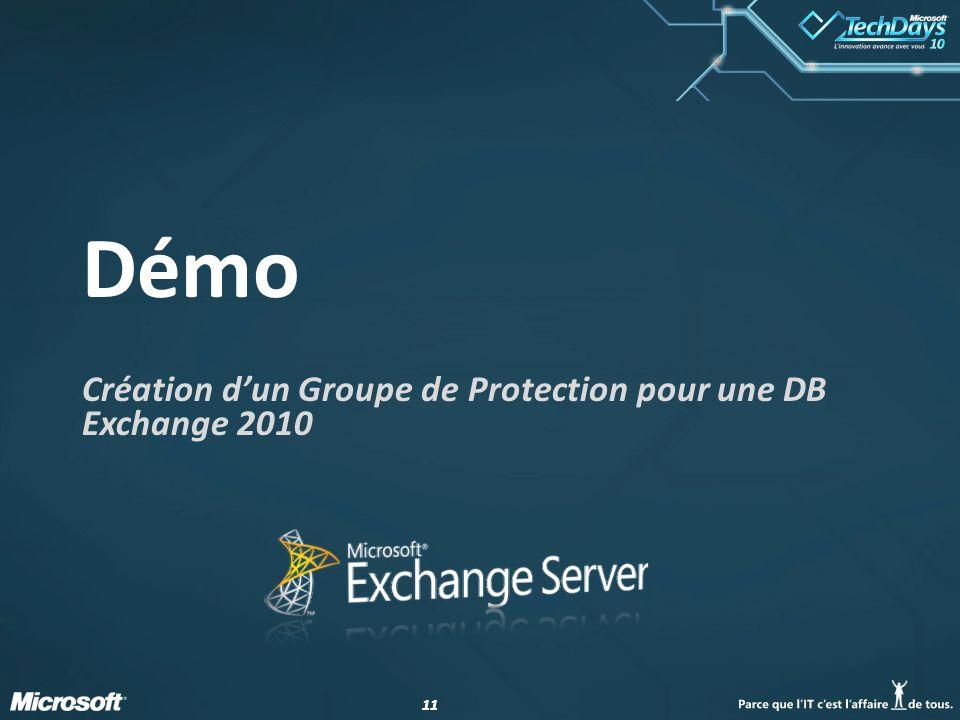 Création d'un Groupe de Protection pour une DB Exchange 2010