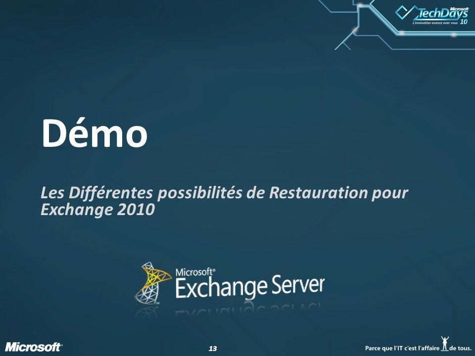 Les Différentes possibilités de Restauration pour Exchange 2010