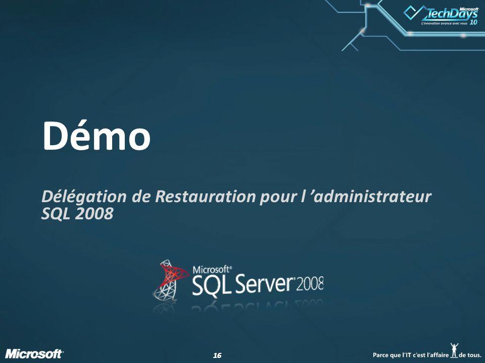 Délégation de Restauration pour l 'administrateur SQL 2008