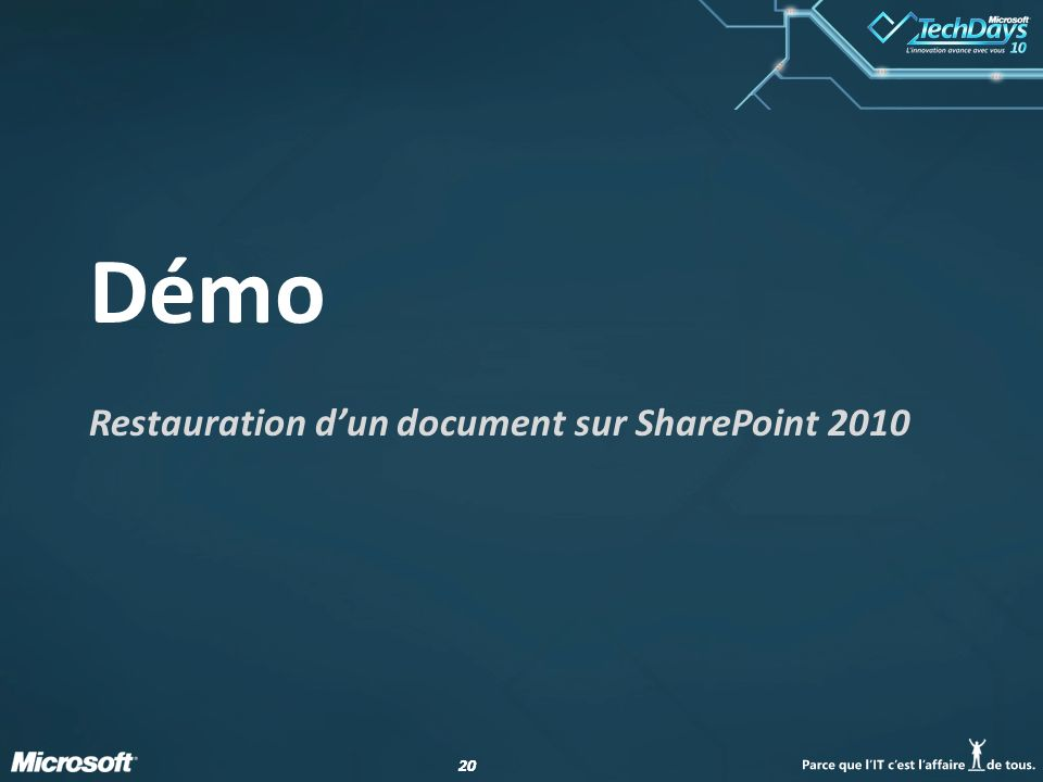 Restauration d'un document sur SharePoint 2010