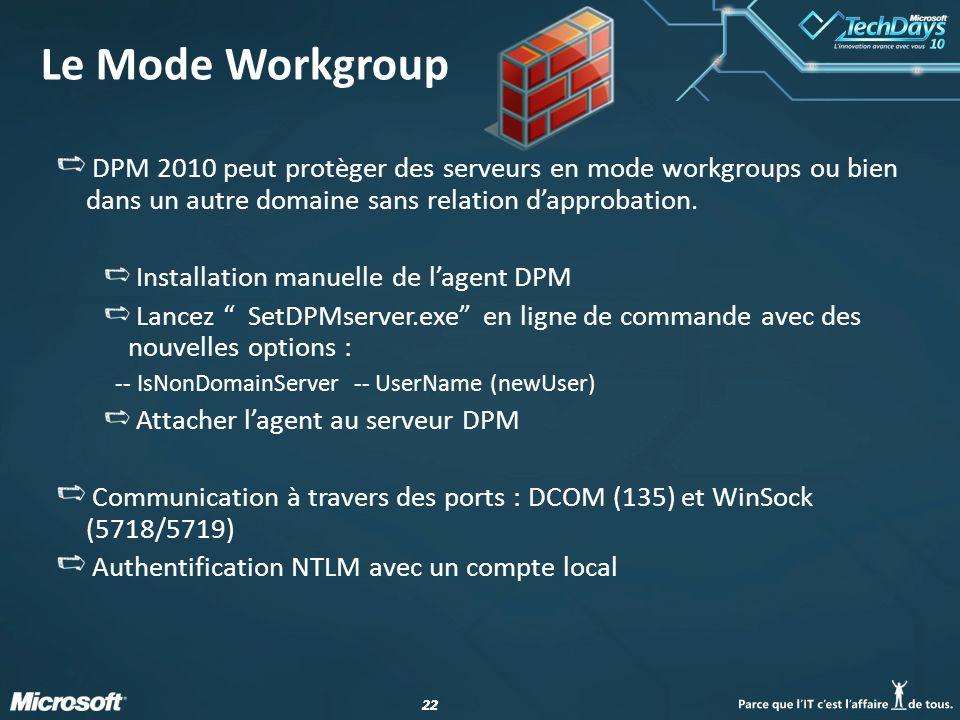 Le Mode Workgroup DPM 2010 peut protèger des serveurs en mode workgroups ou bien dans un autre domaine sans relation d'approbation.