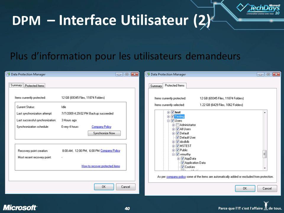 DPM – Interface Utilisateur (2)