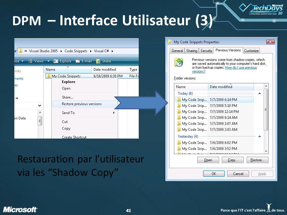 DPM – Interface Utilisateur (3)