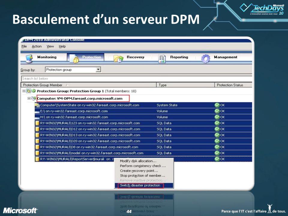Basculement d'un serveur DPM