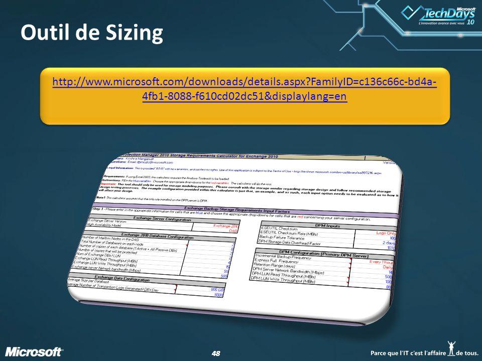 Outil de Sizing http://www.microsoft.com/downloads/details.aspx FamilyID=c136c66c-bd4a-4fb1-8088-f610cd02dc51&displaylang=en.