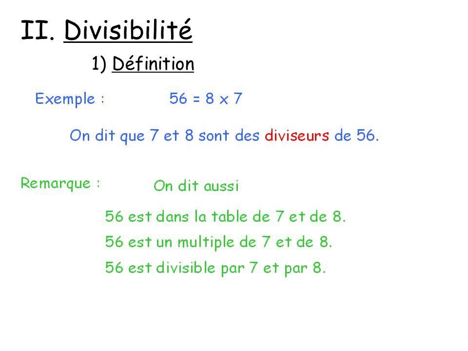 II. Divisibilité 1) Définition