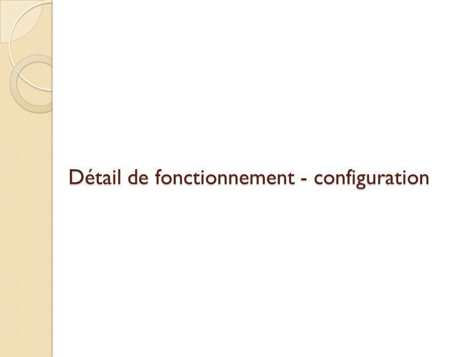 Détail de fonctionnement - configuration