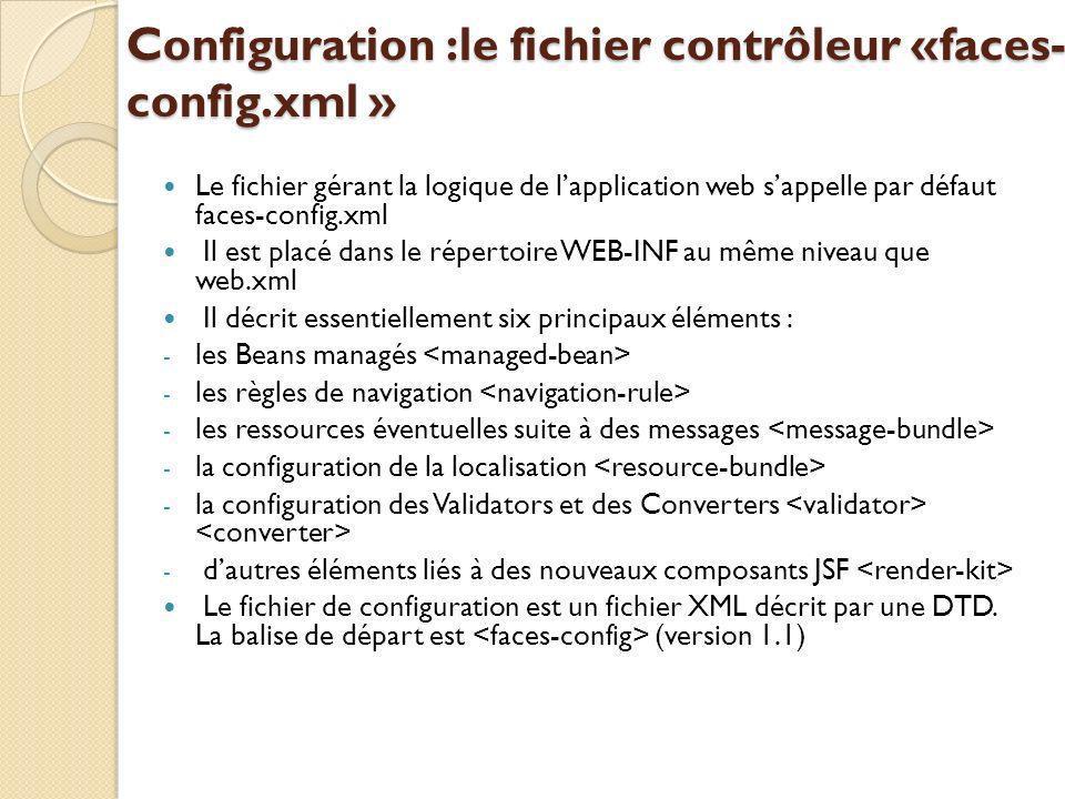 Configuration :le fichier contrôleur «faces-config.xml »