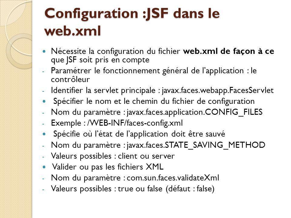 Configuration :JSF dans le web.xml