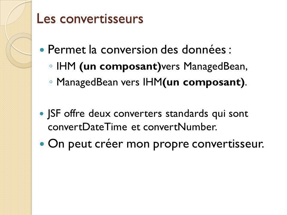 Les convertisseurs Permet la conversion des données :
