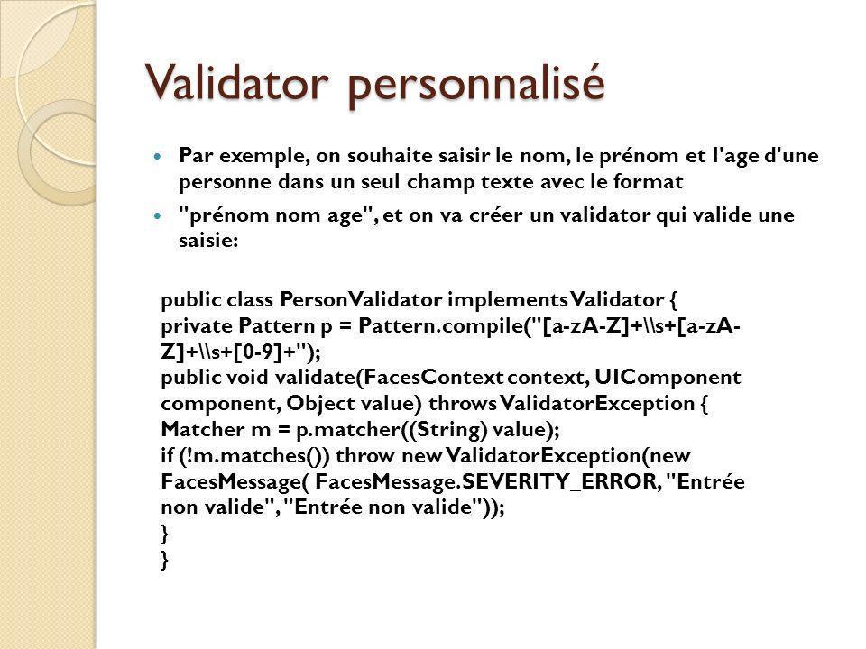 Validator personnalisé