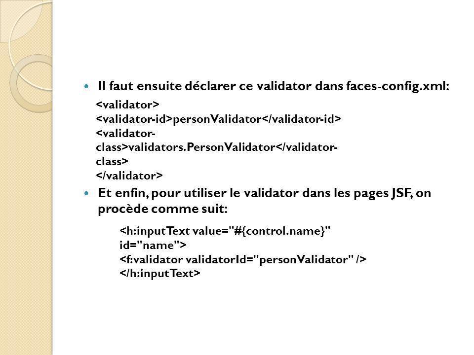 Il faut ensuite déclarer ce validator dans faces-config.xml: