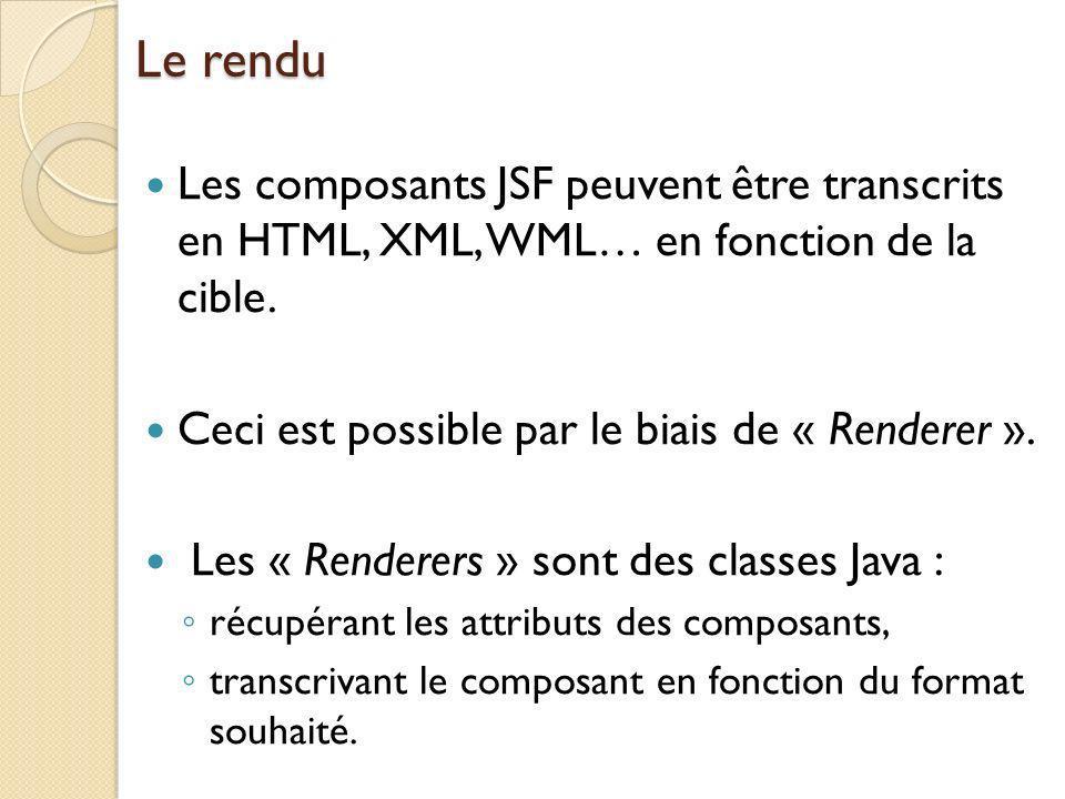 Le rendu Les composants JSF peuvent être transcrits en HTML, XML, WML… en fonction de la cible. Ceci est possible par le biais de « Renderer ».