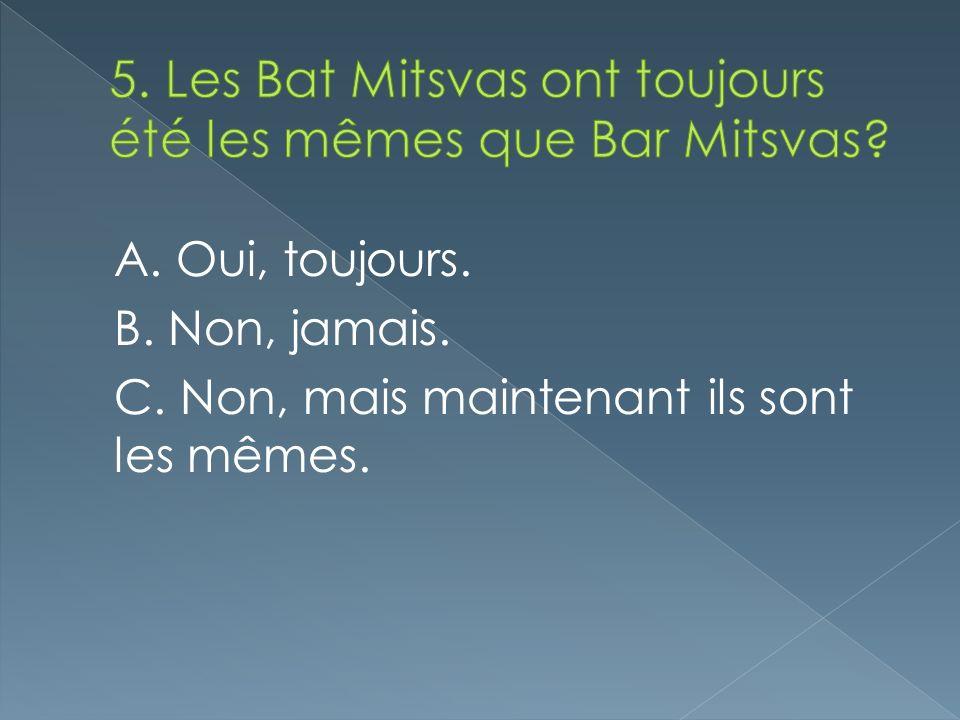 5. Les Bat Mitsvas ont toujours été les mêmes que Bar Mitsvas