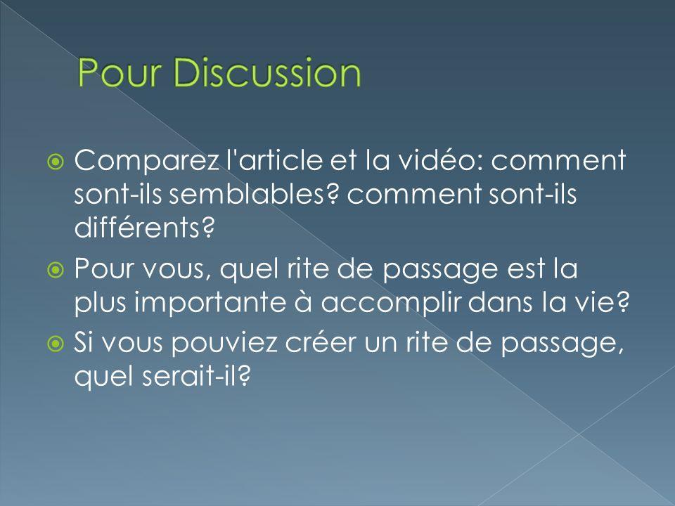 Pour Discussion Comparez l article et la vidéo: comment sont-ils semblables comment sont-ils différents