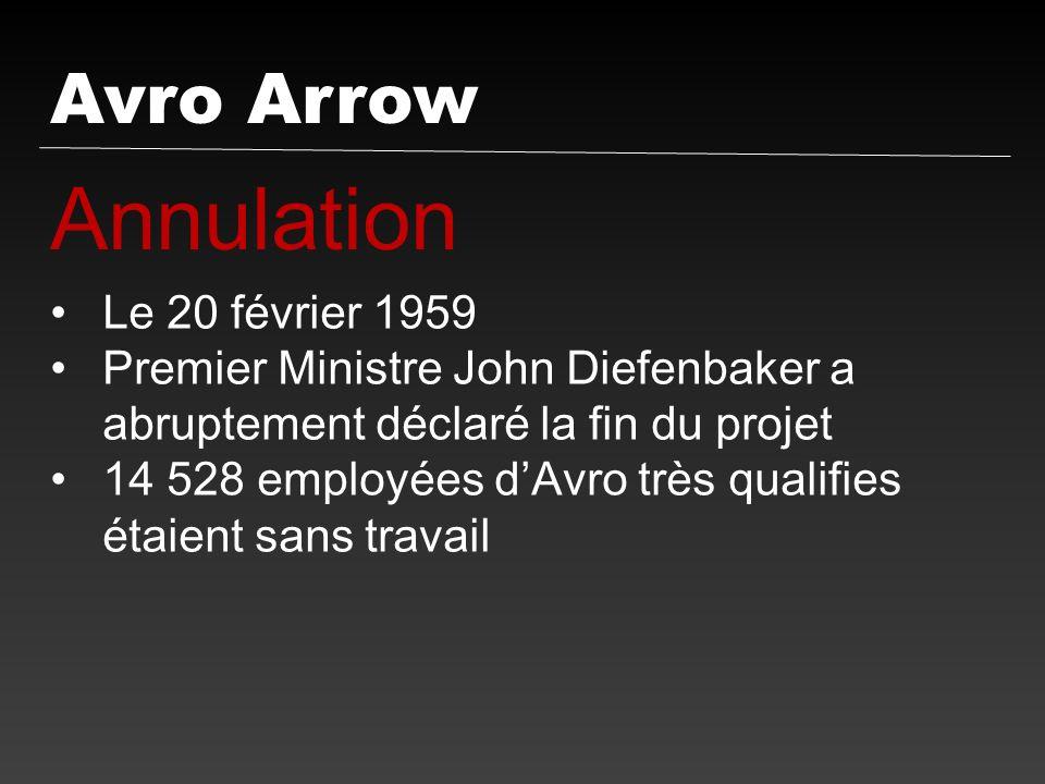 Annulation Avro Arrow Le 20 février 1959