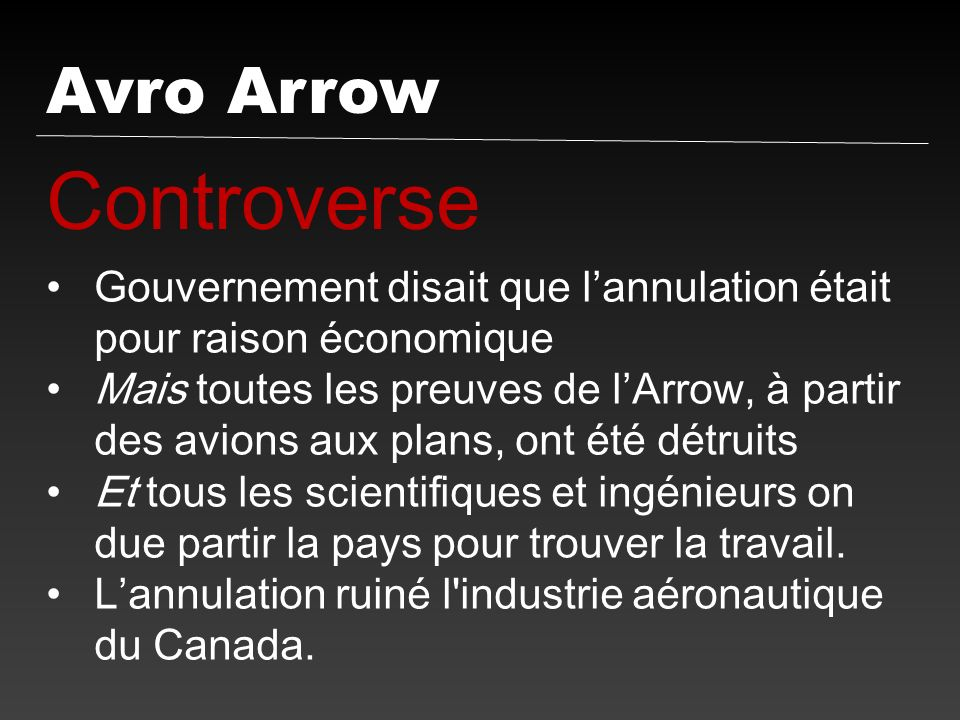 Controverse Avro Arrow