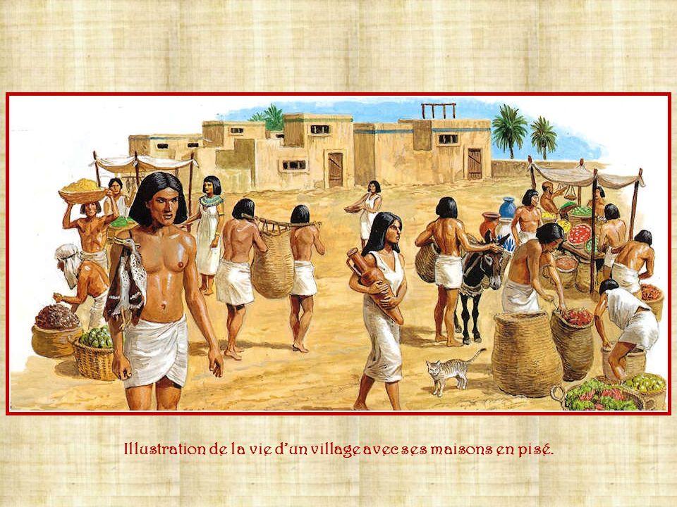 Illustration de la vie d'un village avec ses maisons en pisé.