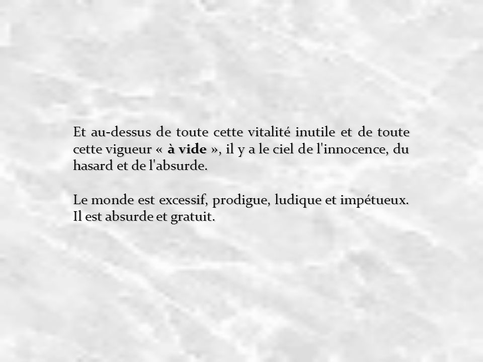 Et au-dessus de toute cette vitalité inutile et de toute cette vigueur « à vide », il y a le ciel de l innocence, du hasard et de l absurde.