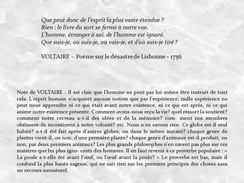VOLTAIRE – Poème sur le désastre de Lisbonne - 1756