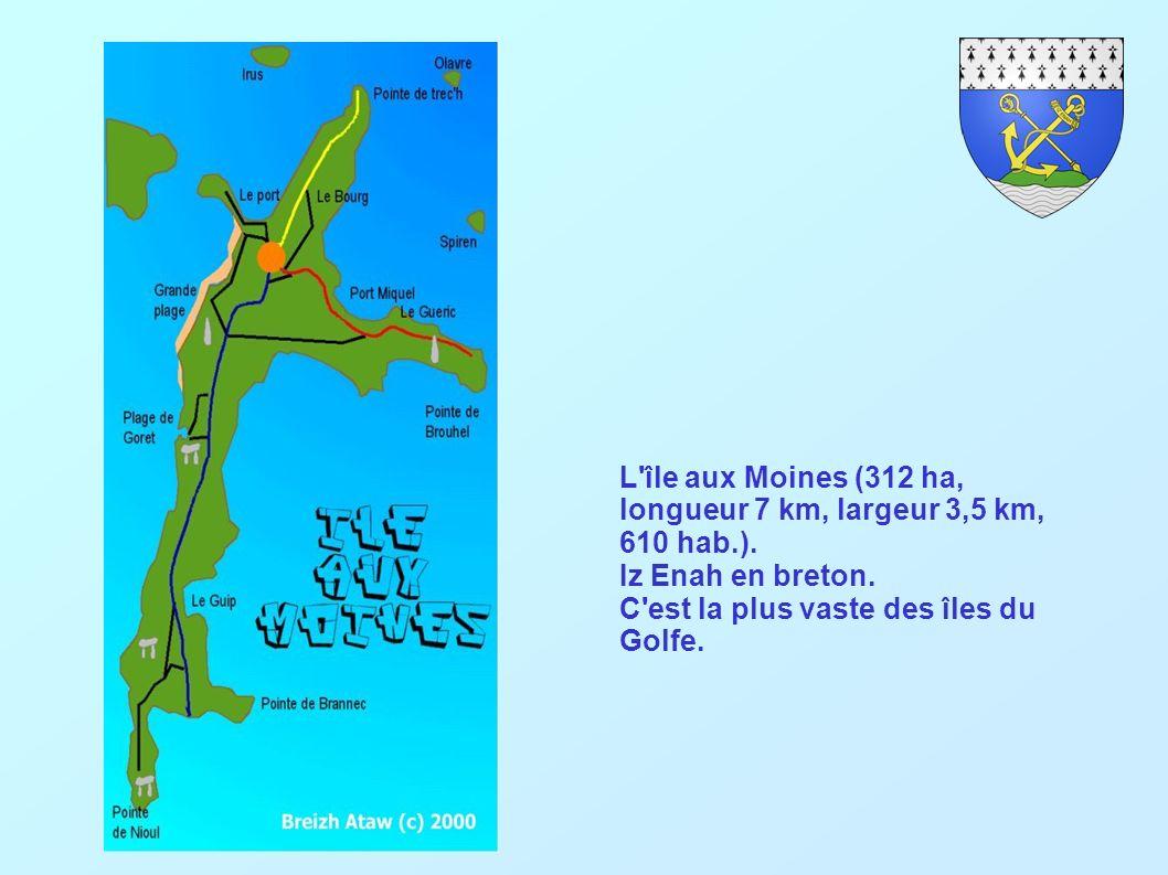 L île aux Moines (312 ha, longueur 7 km, largeur 3,5 km, 610 hab.).