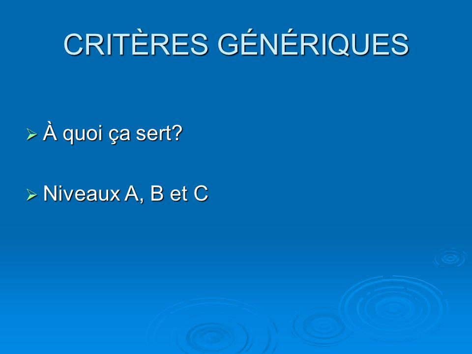 CRITÈRES GÉNÉRIQUES À quoi ça sert Niveaux A, B et C