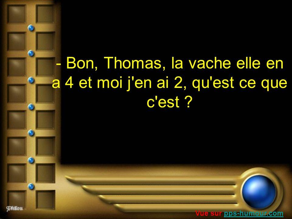 - Bon, Thomas, la vache elle en a 4 et moi j en ai 2, qu est ce que c est