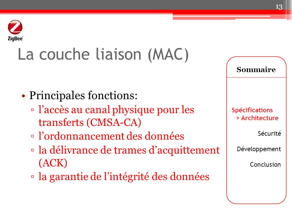 La couche liaison (MAC)