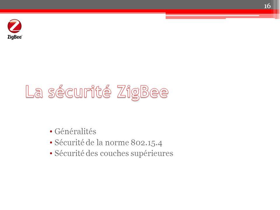 La sécurité ZigBee Généralités Sécurité de la norme 802.15.4