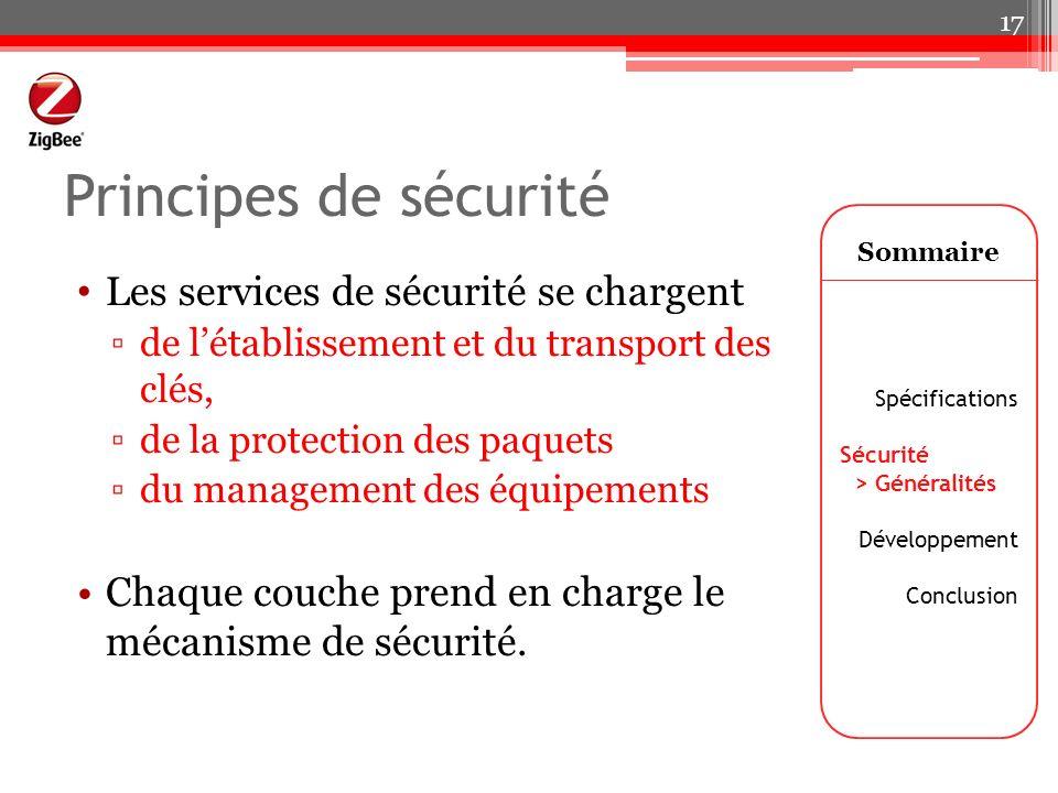 Principes de sécurité Les services de sécurité se chargent