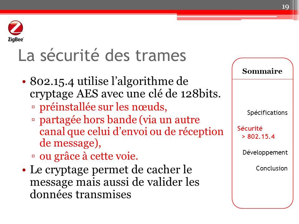 La sécurité des trames Sommaire. 802.15.4 utilise l'algorithme de cryptage AES avec une clé de 128bits.