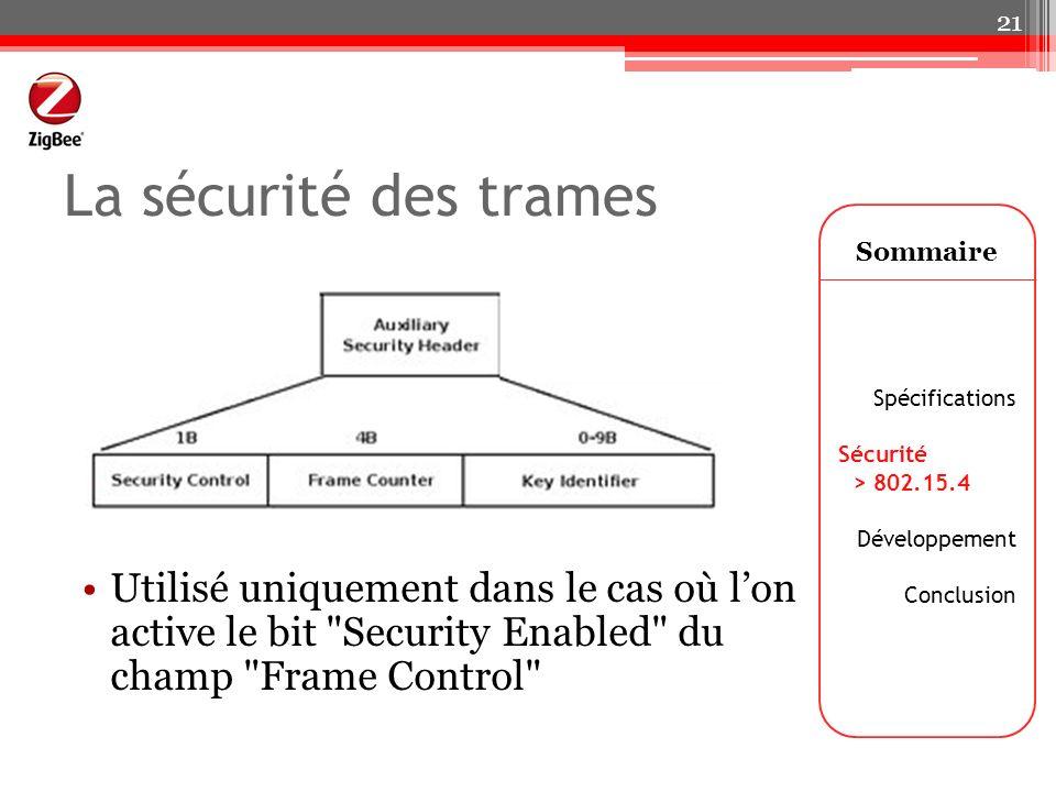 La sécurité des trames Sommaire. Spécifications. Sécurité. > 802.15.4. Développement. Conclusion.