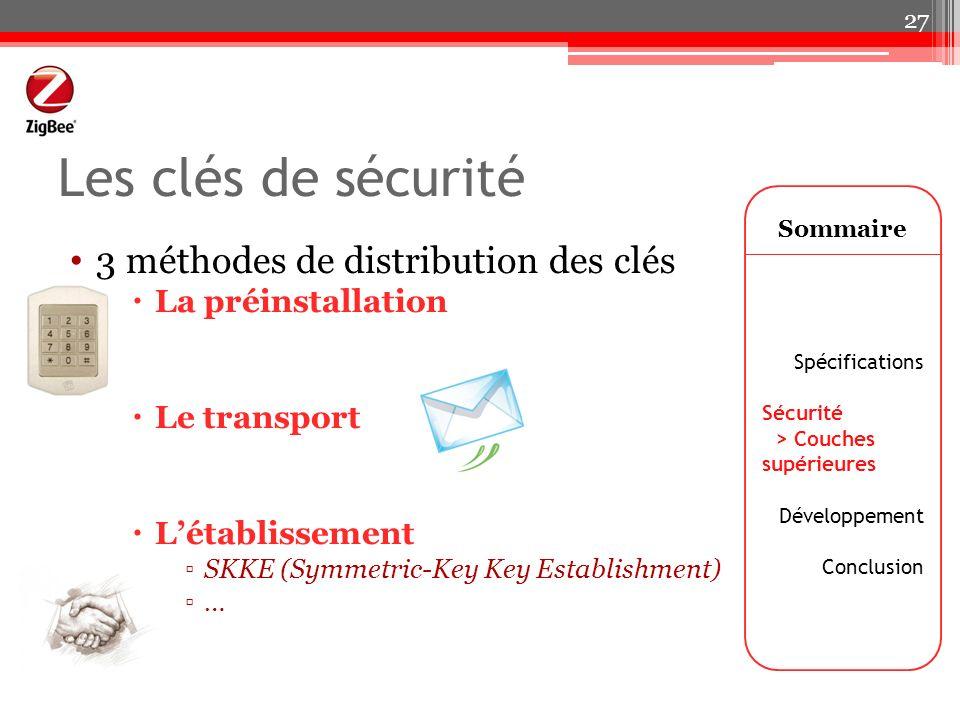 Les clés de sécurité 3 méthodes de distribution des clés