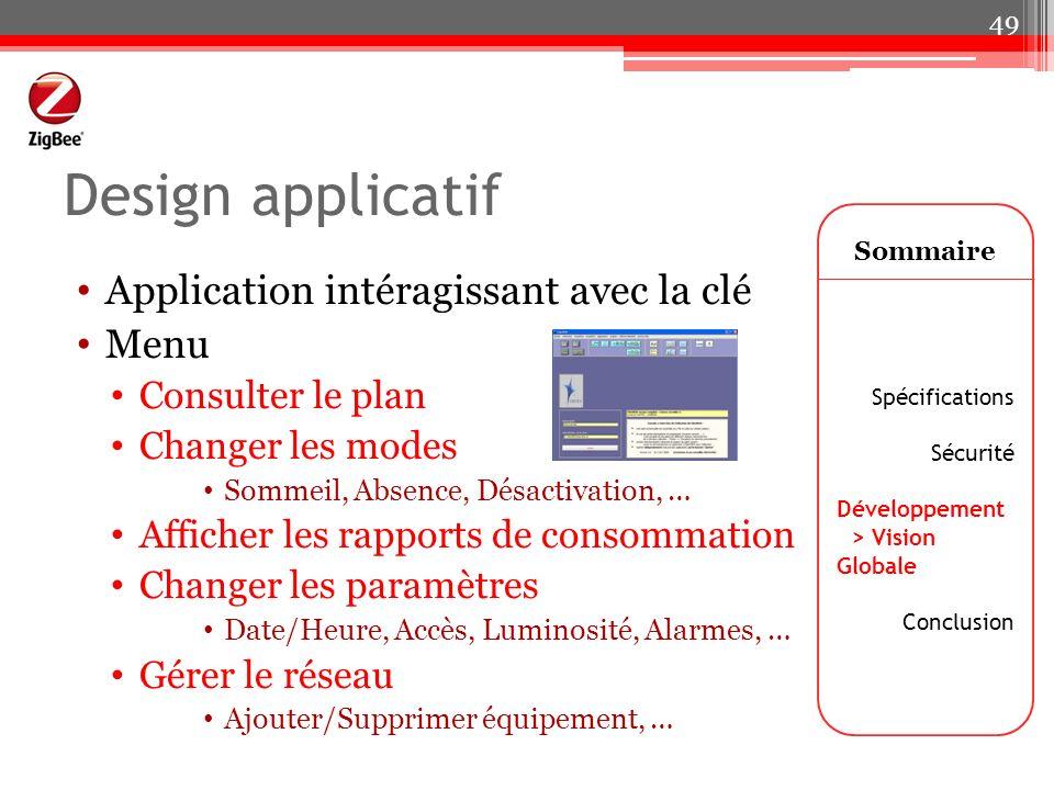Design applicatif Application intéragissant avec la clé Menu