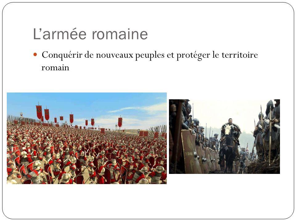 L'armée romaine Conquérir de nouveaux peuples et protéger le territoire romain