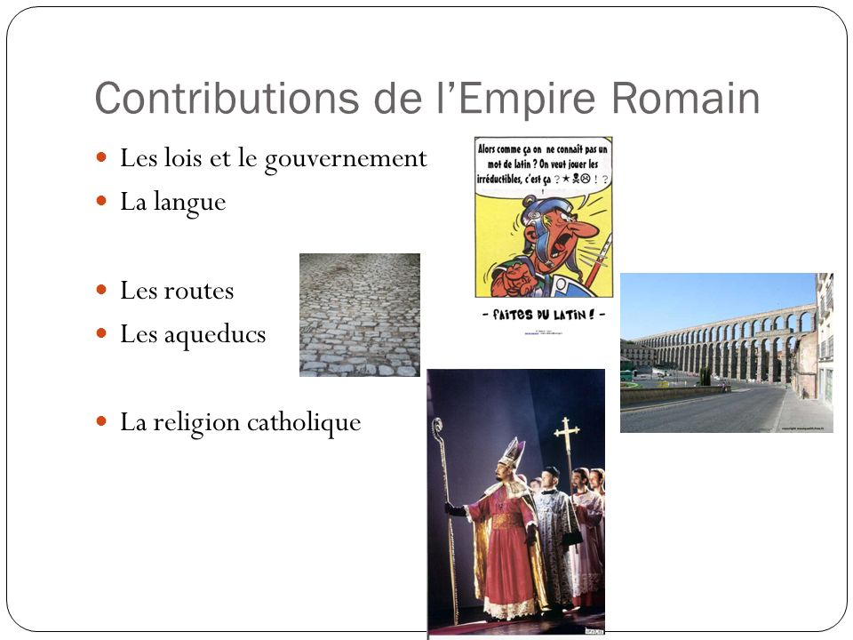Contributions de l'Empire Romain