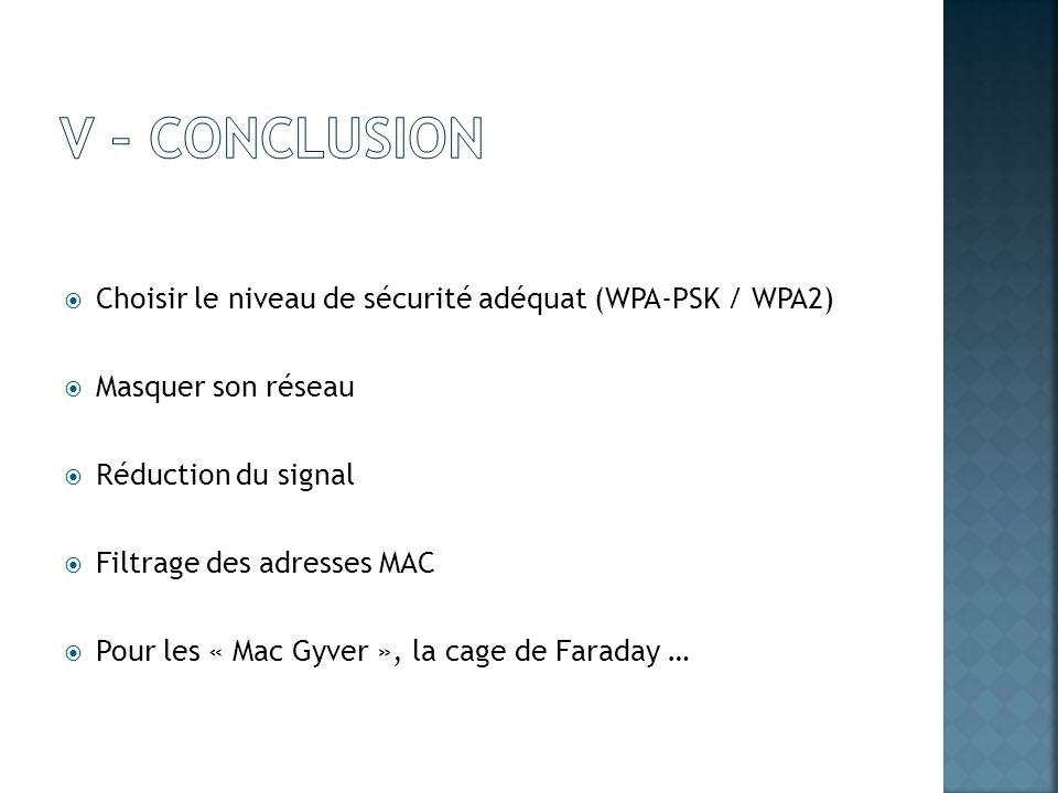 V – cONCLUSION Choisir le niveau de sécurité adéquat (WPA-PSK / WPA2)