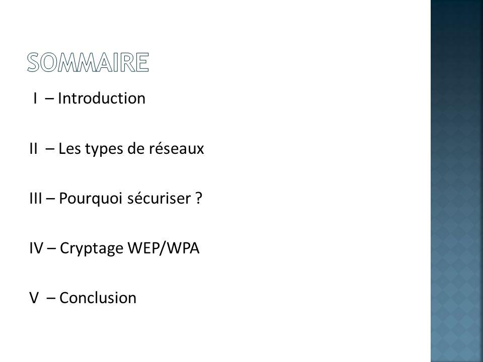 Sommaire I – Introduction II – Les types de réseaux III – Pourquoi sécuriser .