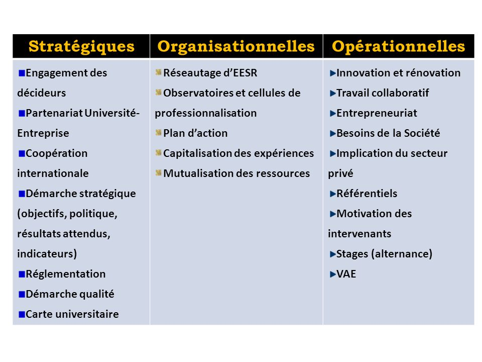 Stratégiques Organisationnelles Opérationnelles