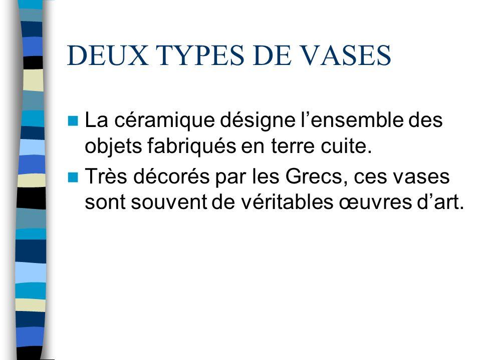 DEUX TYPES DE VASES La céramique désigne l'ensemble des objets fabriqués en terre cuite.