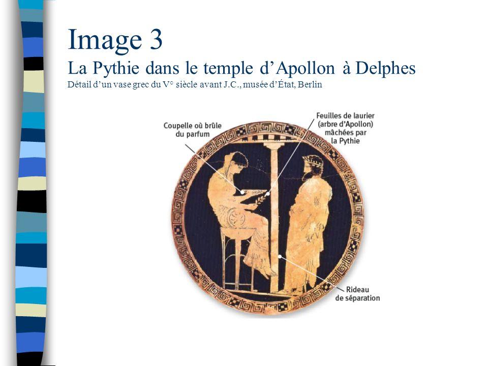 Image 3 La Pythie dans le temple d'Apollon à Delphes Détail d'un vase grec du V° siècle avant J.C., musée d'État, Berlin