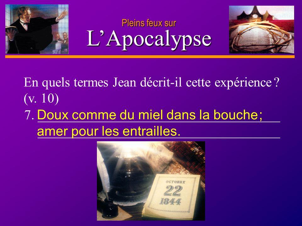 L'Apocalypse En quels termes Jean décrit-il cette expérience (v. 10)