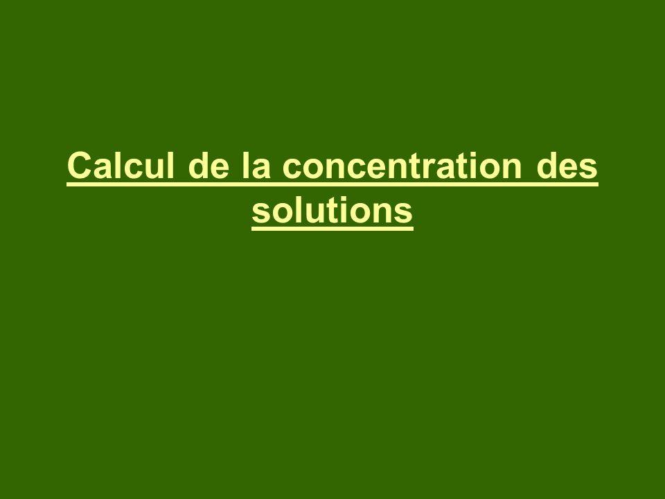 Calcul de la concentration des solutions