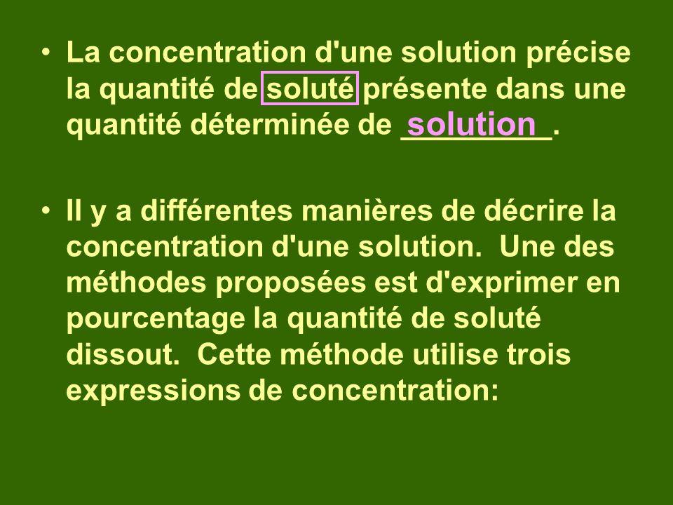 La concentration d une solution précise la quantité de soluté présente dans une quantité déterminée de _________.