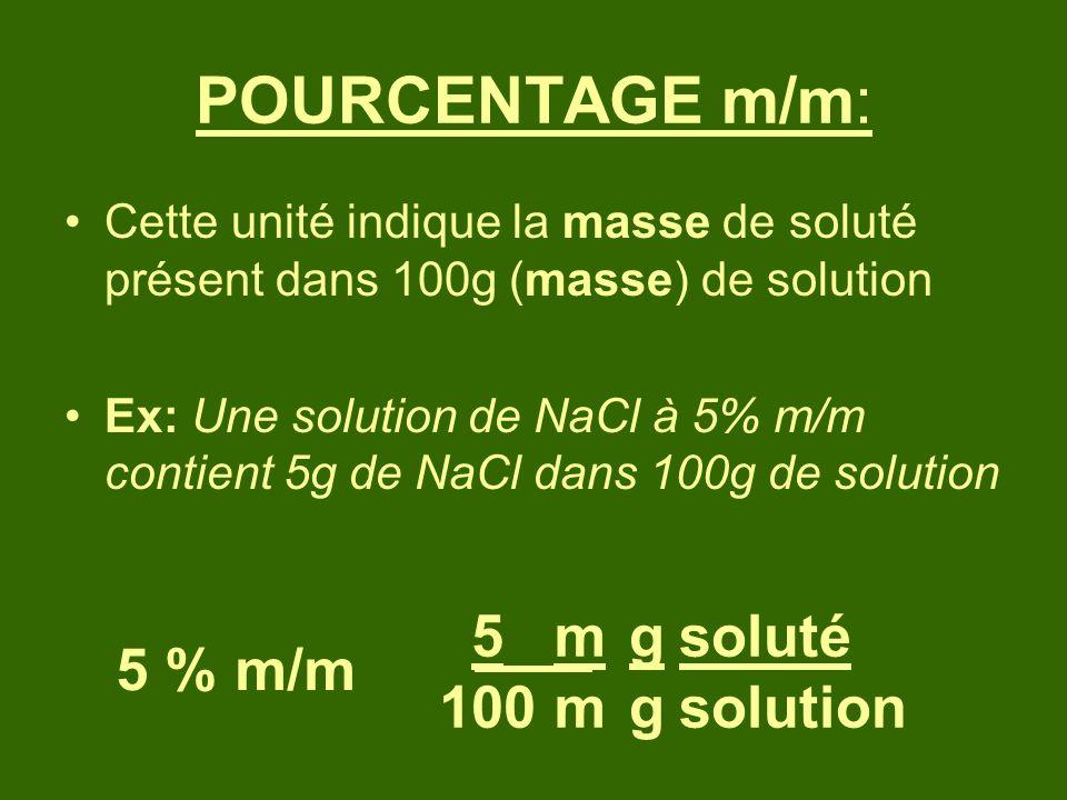 POURCENTAGE m/m: 5 100 m m g g soluté solution 5 % m/m