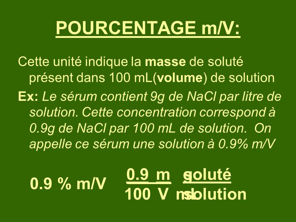 POURCENTAGE m/V: 0.9 100 m V g mL soluté solution 0.9 % m/V