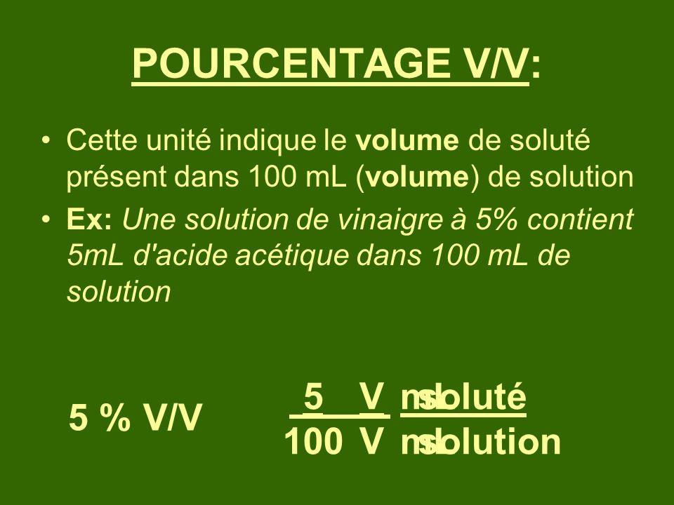 POURCENTAGE V/V: 5 100 V V mL mL soluté solution 5 % V/V