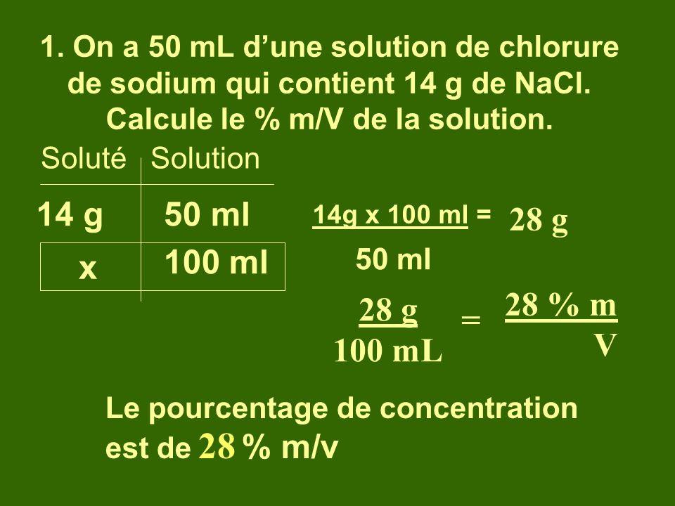 1. On a 50 mL d'une solution de chlorure de sodium qui contient 14 g de NaCl. Calcule le % m/V de la solution.